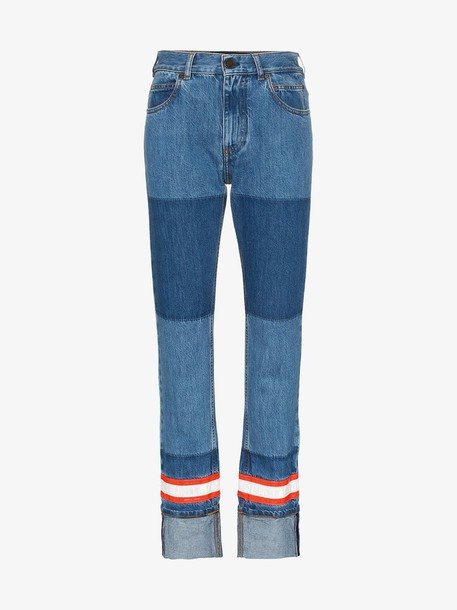 Calvin Klein 205W39nyc fire tape applique straight jeans in blue