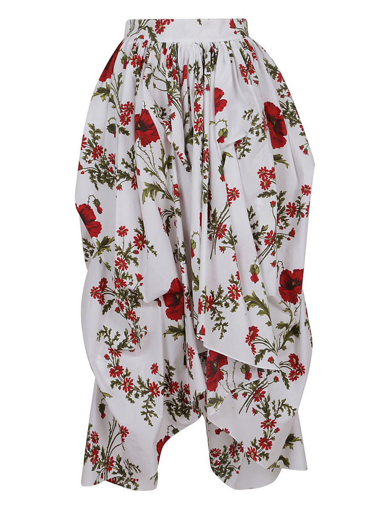 Alexander Mcqueen Floral Asymmetric Skirt in ivory