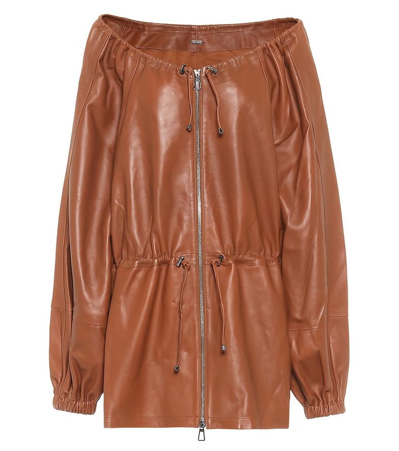 Dodo Bar Or Off-shoulder leather jacket in brown