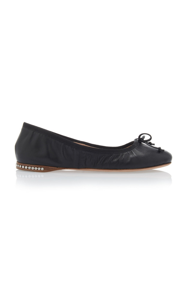 Miu Miu Crystal-Inset Leather Ballet Flats Size: 36 in black