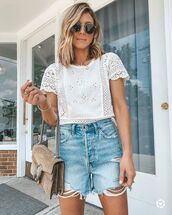 top,white top,lace top,High waisted shorts,denim shorts,gucci bag