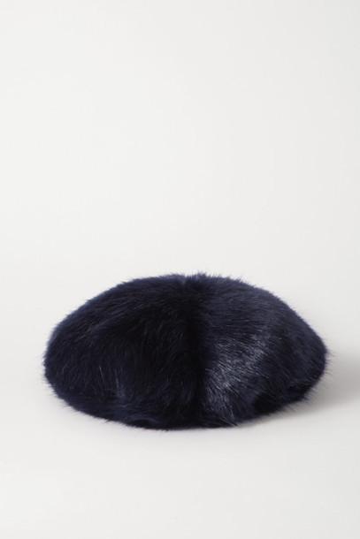 Emma Brewin - Faux Fur Beret - Midnight blue
