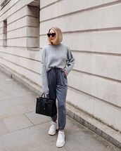 sweater,grey sweater,joggers,grey pants,white sneakers,black bag