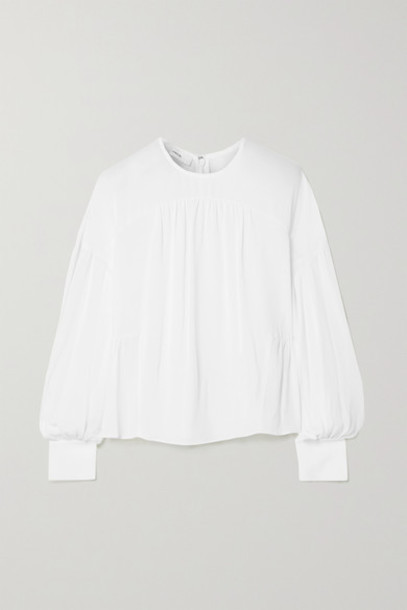 Vince - Gathered Silk-crepe Blouse - White
