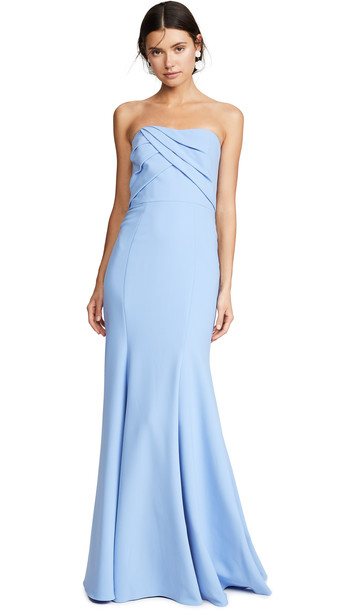 Marchesa Notte Sleeveless Draped Bodice Gown in blue