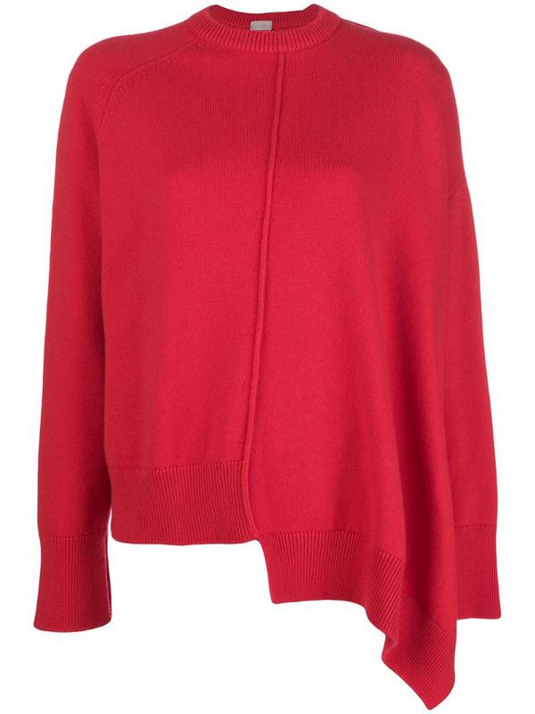 MRZ asymmetric crew neck sweater in red