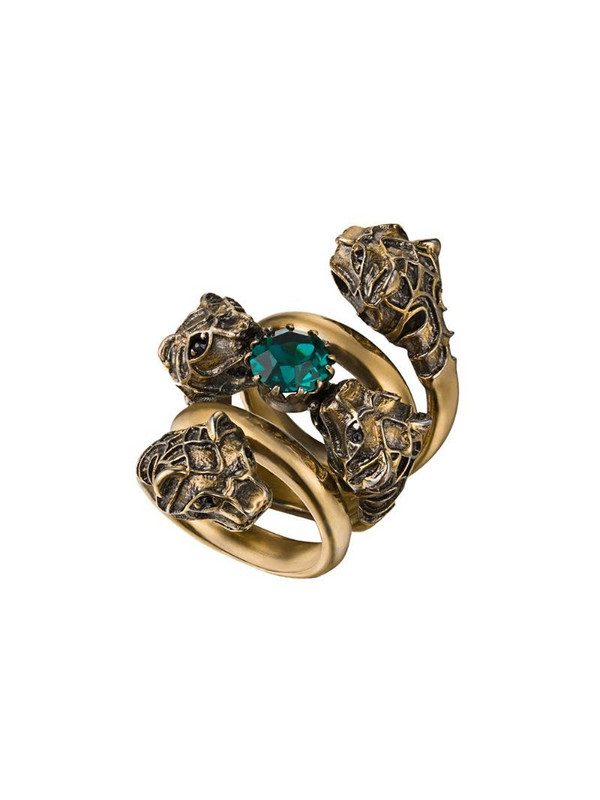 Gucci Double wrap ring with tiger heads in gold