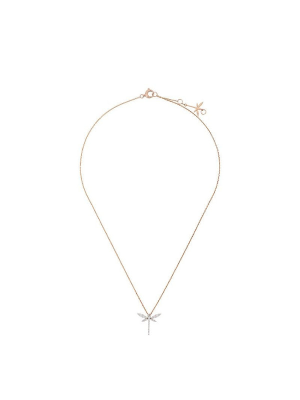 Anapsara 18kt rose gold and diamond Mini Dragonfly necklace in pink