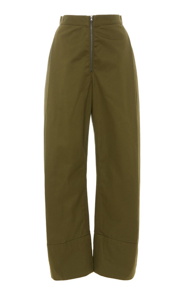 Rachel Comey Vice High-Rise Organic Cotton Straight-Leg Pants in green
