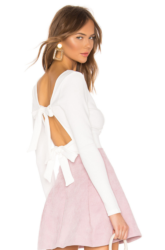 About Us Penny Tie Back Top in white