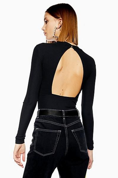 Topshop Long Sleeve Backless Bodysuit - Black