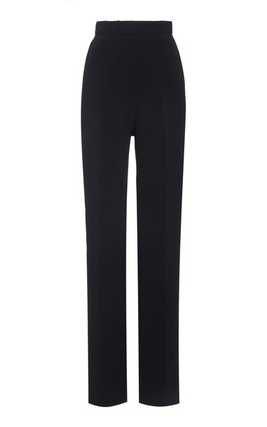 Carolina Herrera High-Waisted Crepe Tuxedo Pants in black