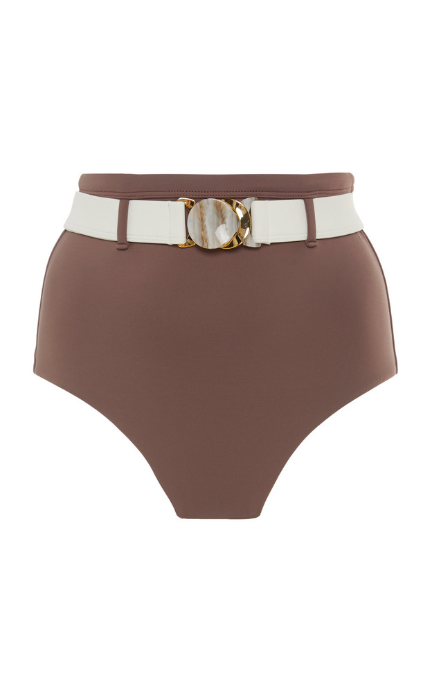 Palm Mesa Belted High-Waisted Bikini Bottom Size: 0 in brown