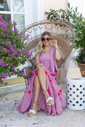 suburban faux-pas,blogger,dress,sunglasses,bag,shoes,jewels,summer outfits,wedges,pink dress