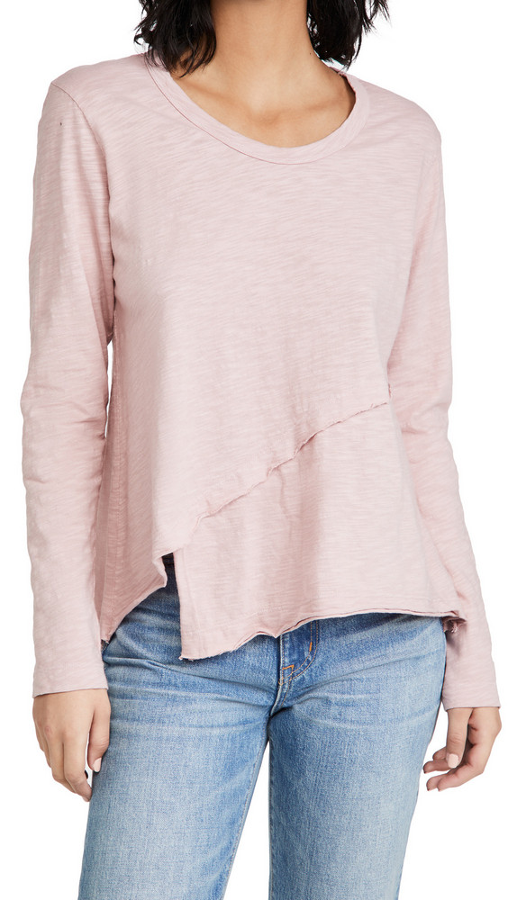 Wilt Crossover Hem Tee in blush