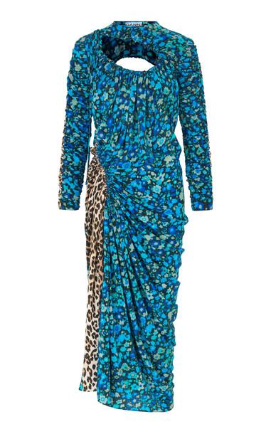 Ganni Exclusive Cutout Floral-Print Georgette Dress Size: 36