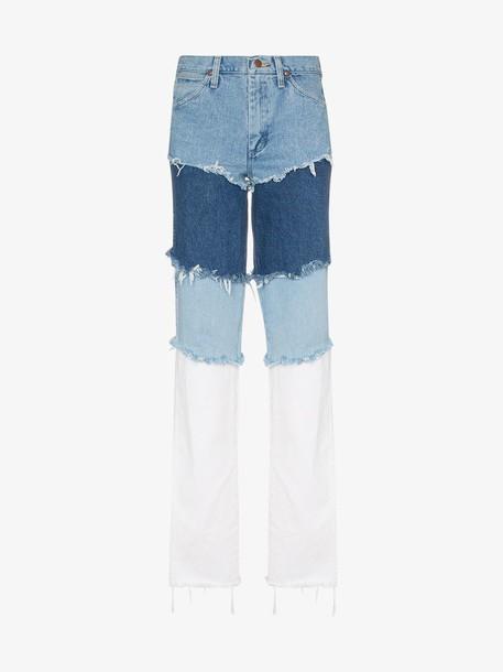 Natasha Zinko Wrangler high waisted layered jeans in blue