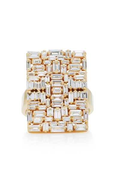 Suzanne Kalan White Diamond Baguette Ring in gold