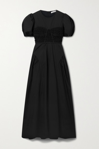 Cecilie Bahnsen - Clementine Smocked Cotton-blend Poplin Maxi Dress - Black