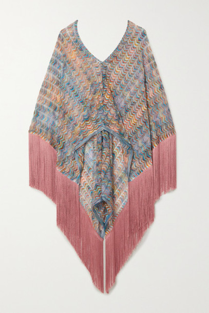 Missoni - Fringed Crochet-knit Poncho - Pink
