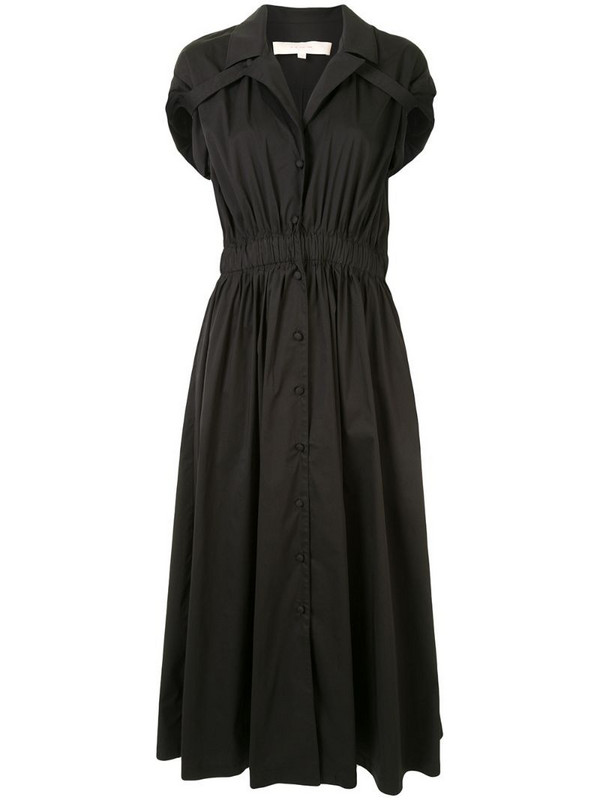 By Any Other Name short-sleeve flared dress in black