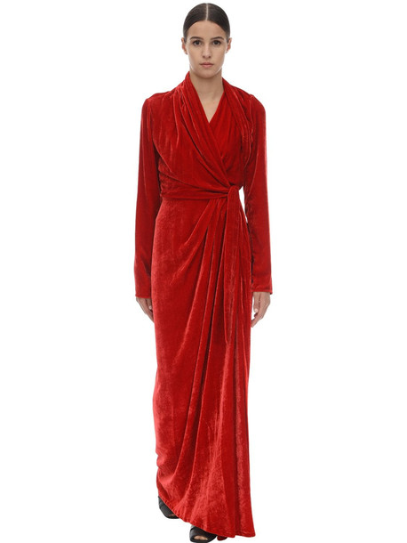 RICK OWENS Long Viscose & Silk Wrap Gown in red