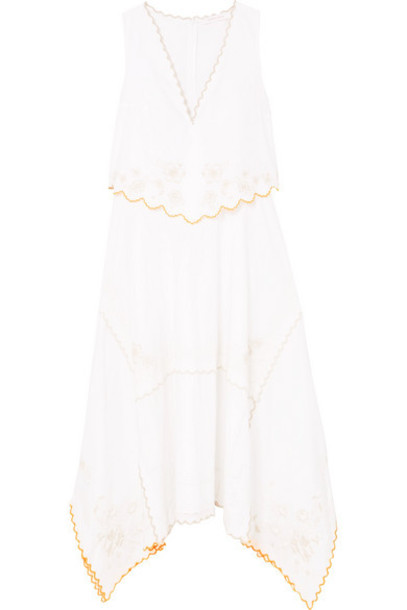 See By Chloé See By Chloé - Asymmetric Embroidered Cotton Dress - White
