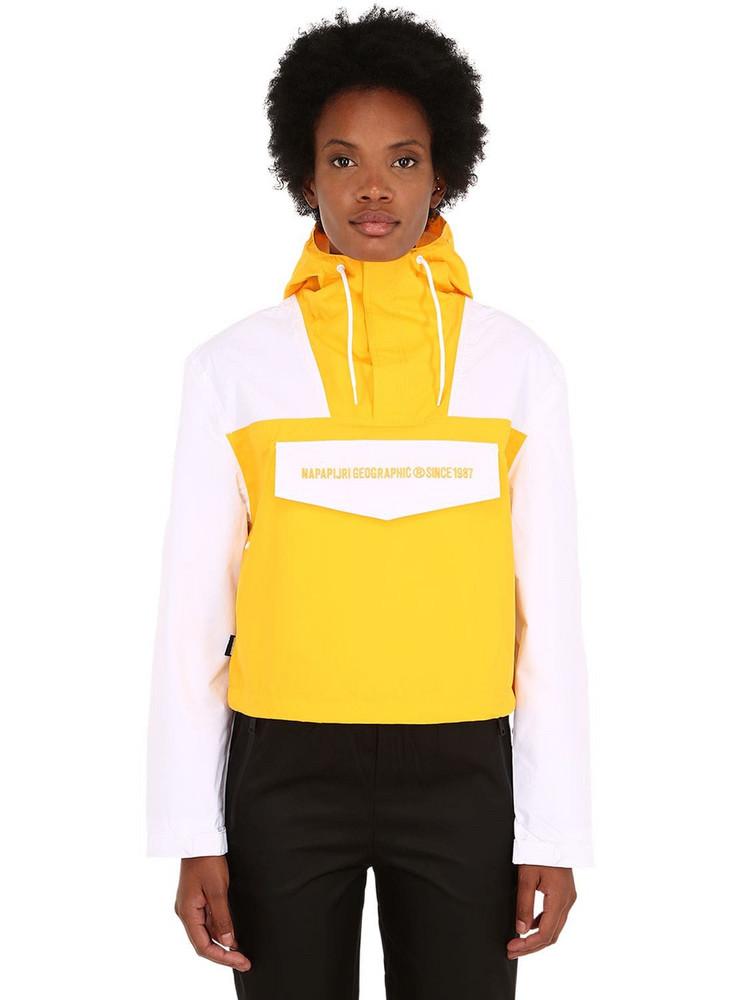 NAPAPIJRI Rainforest Cropped Techno Jacket in white / yellow