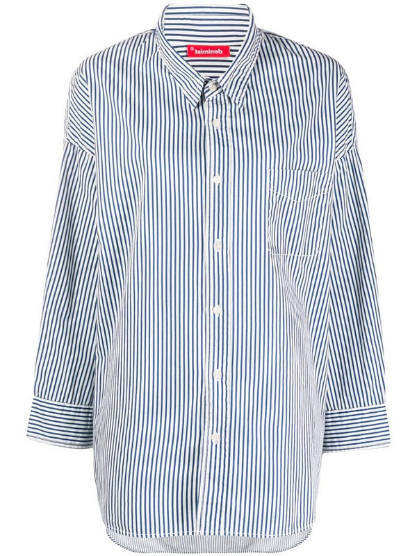 Denimist oversized striped shirt in white