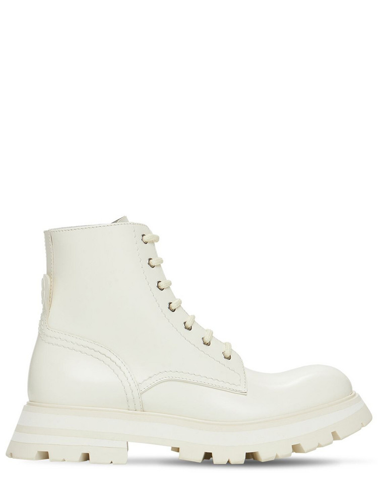ALEXANDER MCQUEEN 45mm Brushed Leather Combat Boots in white