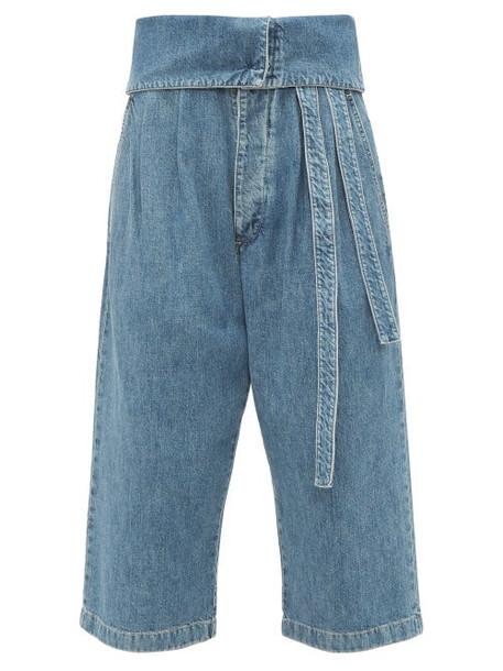 Loewe - Turnover Top Cropped Jeans - Womens - Denim
