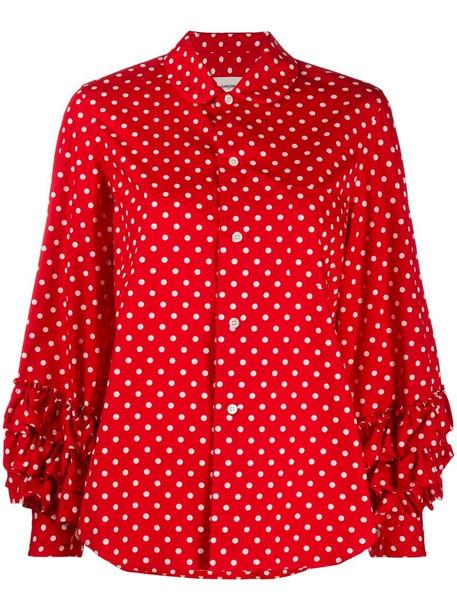 Comme Des Garçons Girl polka dot print ruffle trim shirt in red