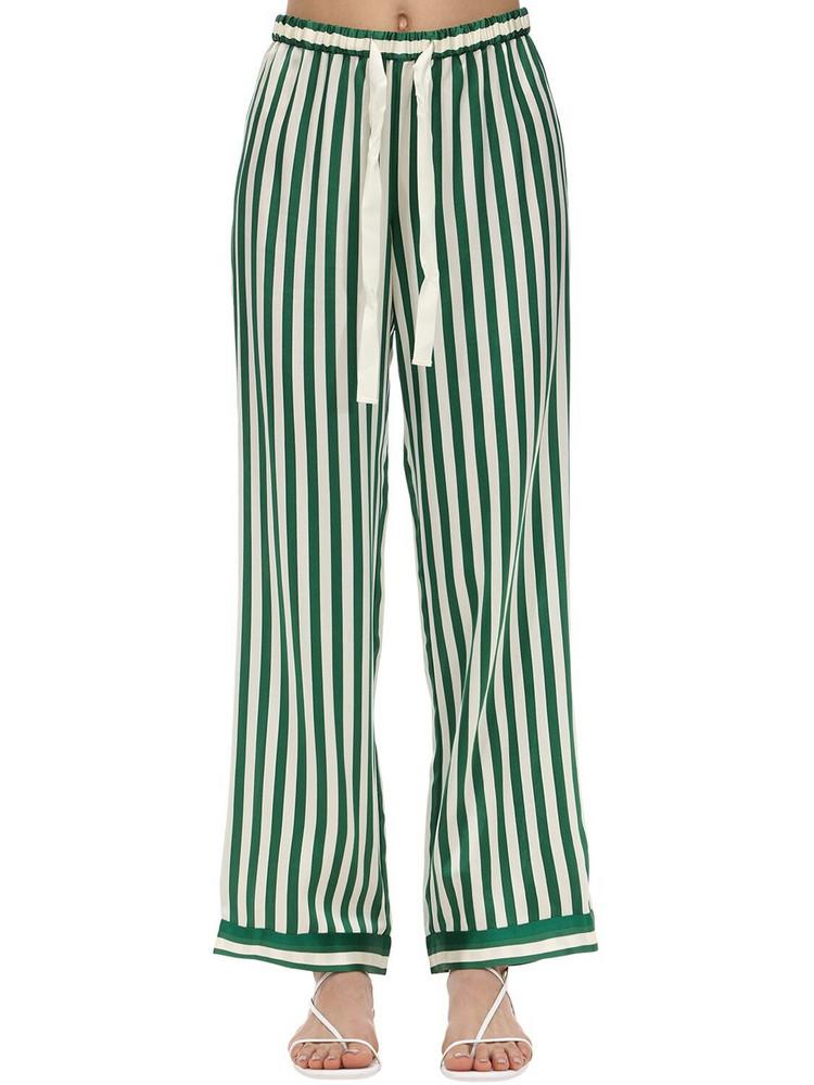 MORGAN LANE Chantal Silk Charmeuse Pajama Pants in green / white