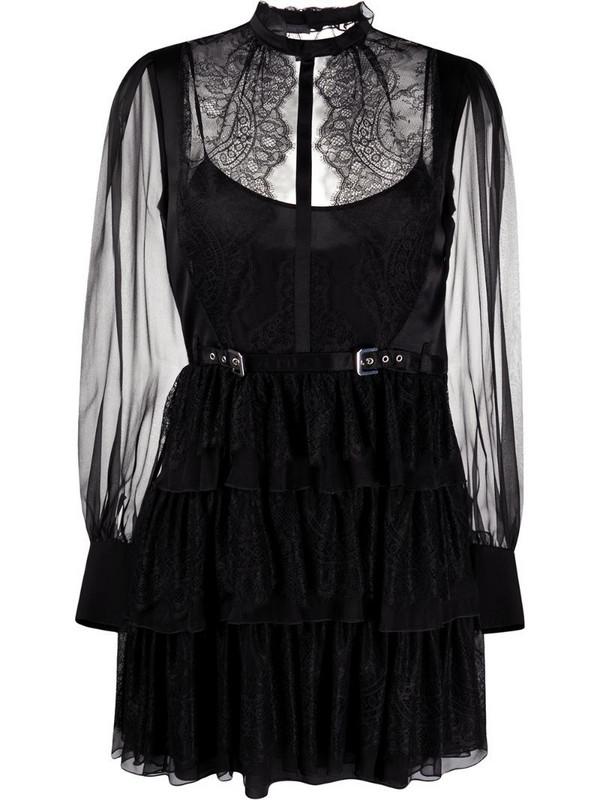 Alberta Ferretti tiered sheer panel dress in black