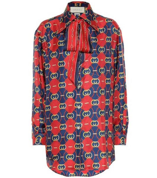 Gucci Printed silk shirt in red