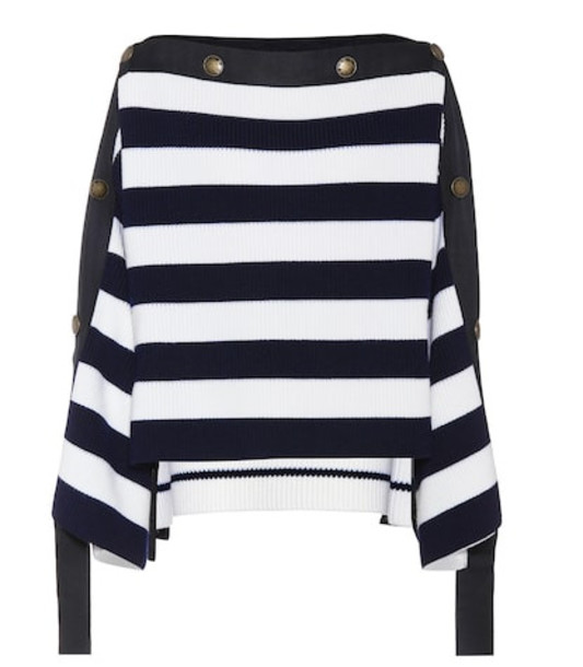 Monse Striped wool sweater in white