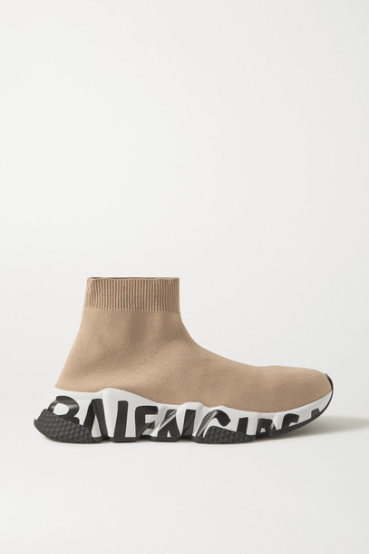 BALENCIAGA - Speed Logo-print Stretch-knit High-top Sneakers - Neutrals