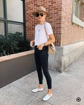 jeans,black skinny jeans,high waisted jeans,loafers,white t-shirt,crossbody bag,hat
