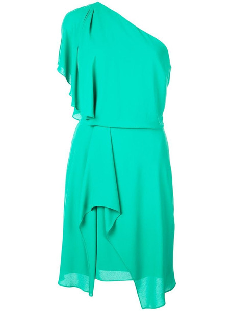 Halston Heritage one shoulder dress in green