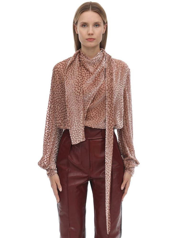 PETAR PETROV Viscose & Silk Velvet Devoré Shirt in pink