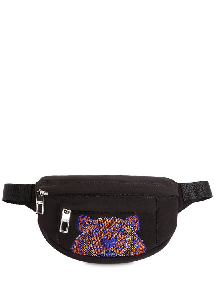 KENZO Mini Lion Embroidered Techno Belt Bag in black