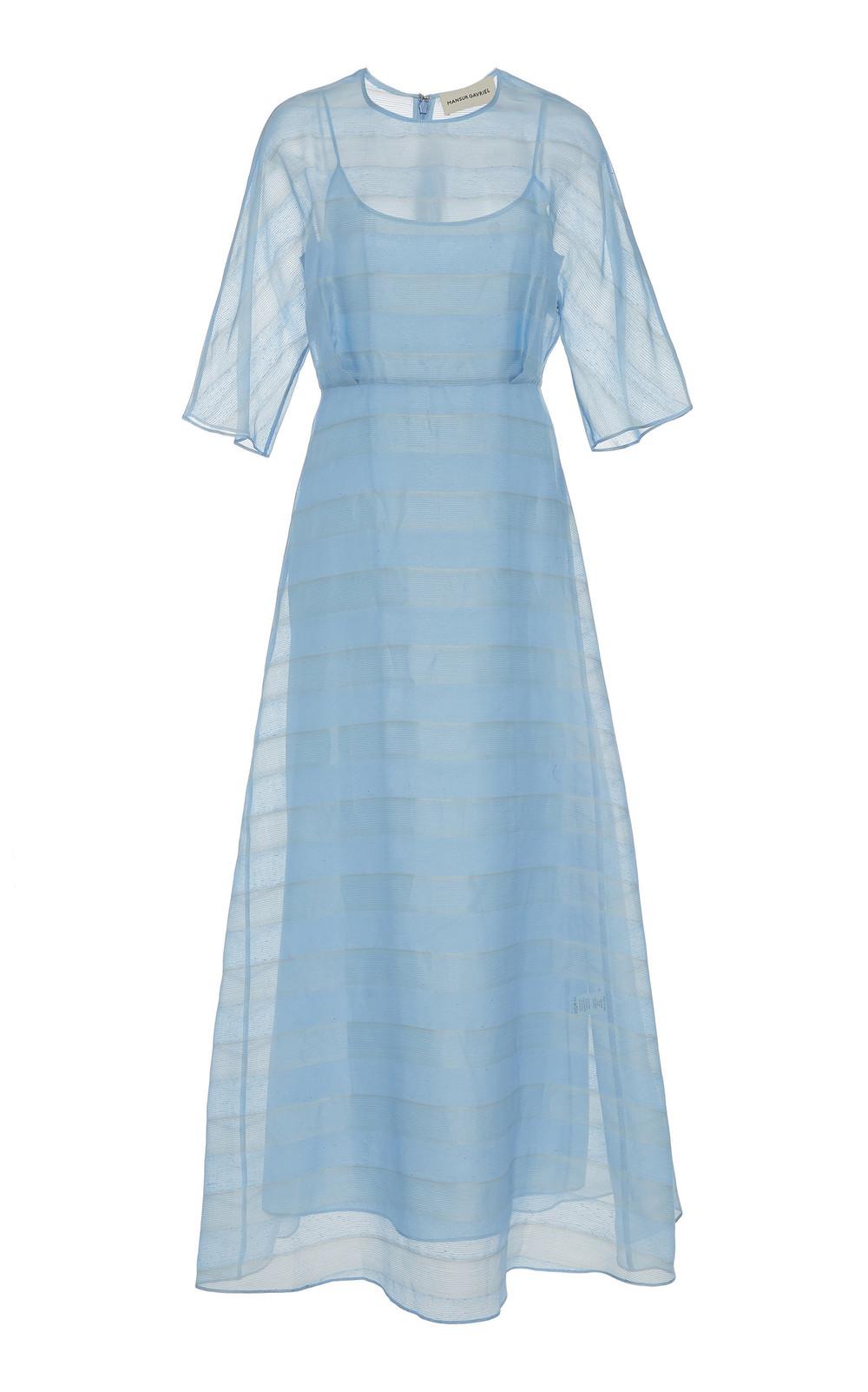 Mansur Gavriel Striped Silk-Voile Midi Dress in blue