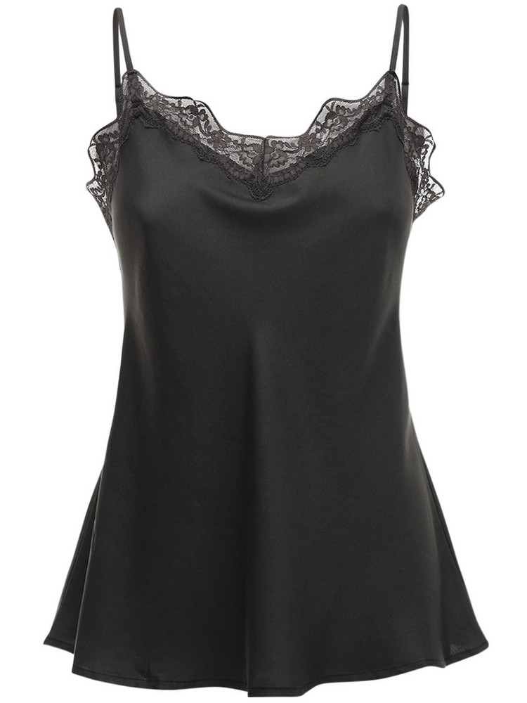 UNDERPROTECTION Carry Satin & Lace Top in black