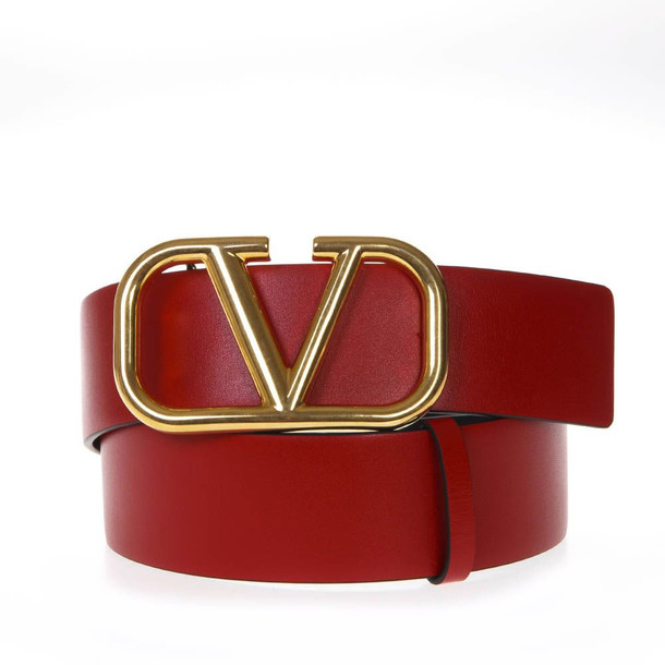 Valentino Garavani Red Leather Logo Belt