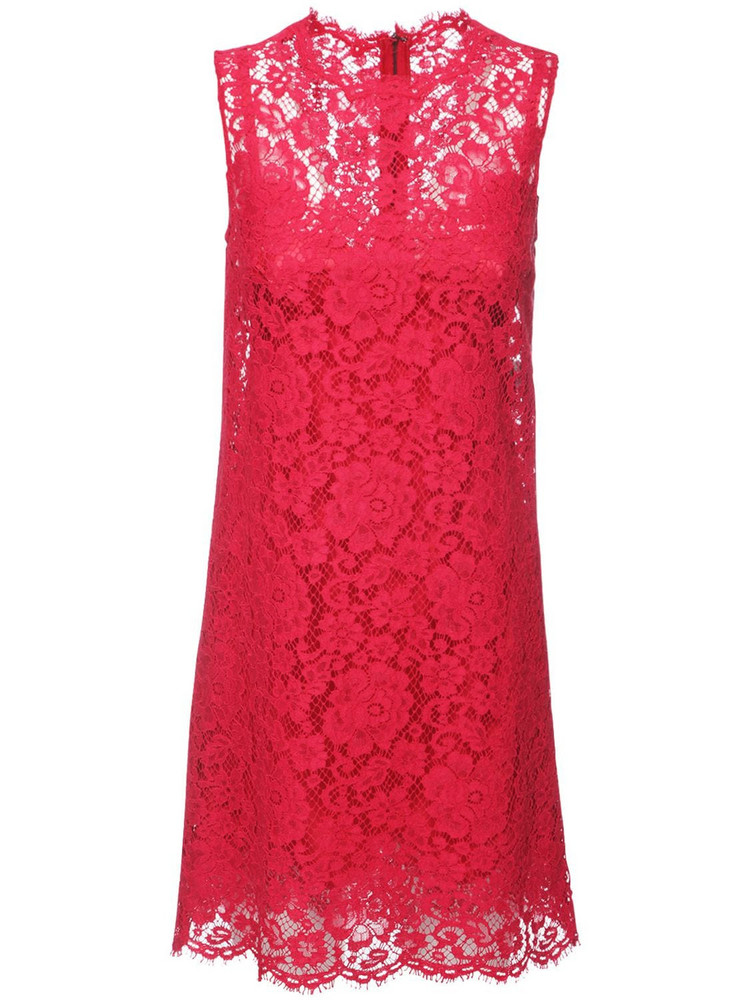 DOLCE & GABBANA Sleeveless Cotton Blend Lace Mini Dress in red