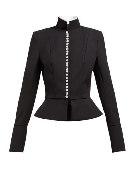 Alexandre Vauthier - Crystal Button Single Breasted Wool Blend Jacket - Womens - Black