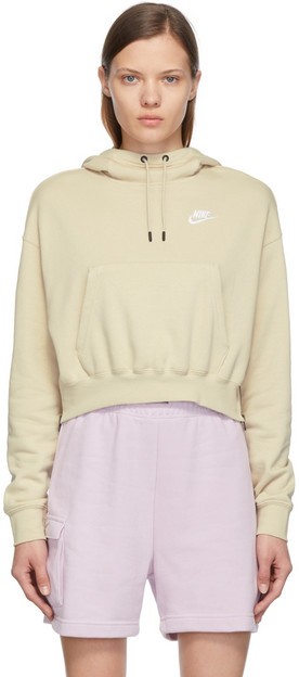 Nike Beige Sportswear Essentials Fleece Hoodie in white