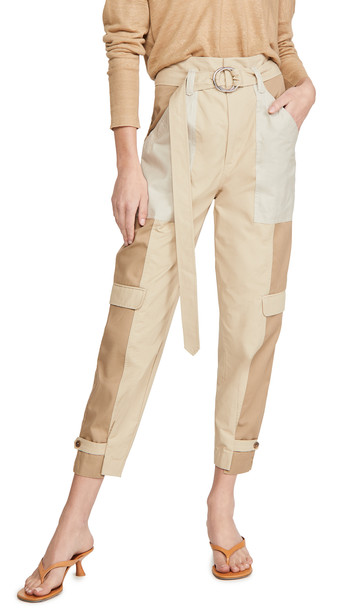FRAME Tonal Blocked Cargo Pants in khaki / multi