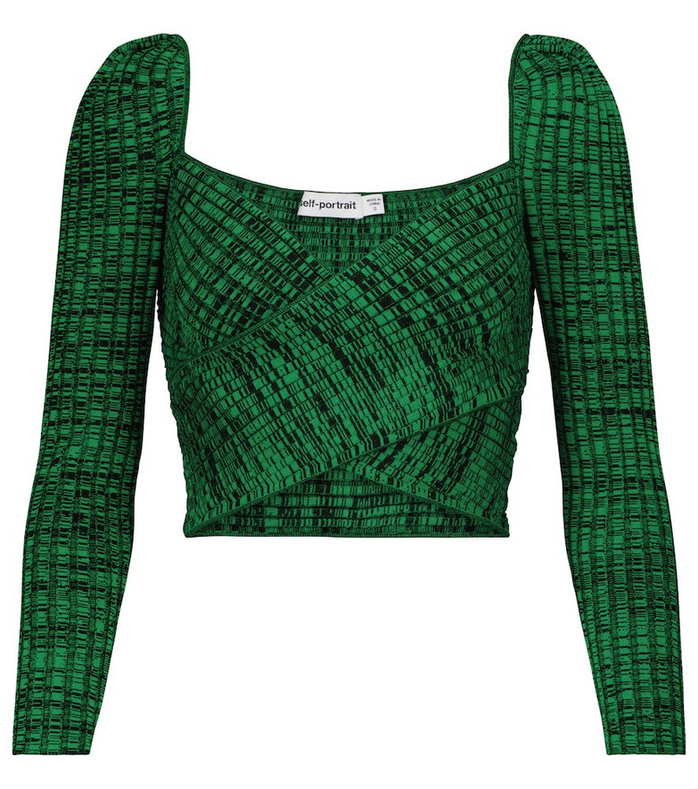 Self-Portrait Ribbed-knit crop top in green