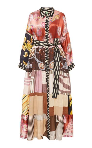 Rianna + Nina Printed Silk Shirt Dress in multi